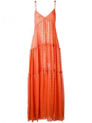Платье с отделкой металлик Daizy Shely. Цвет: жёлтый и оранжевый