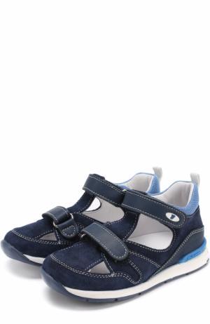 Замшевые сандалии с застежками велькро и отделкой из кожи Falcotto. Цвет: синий