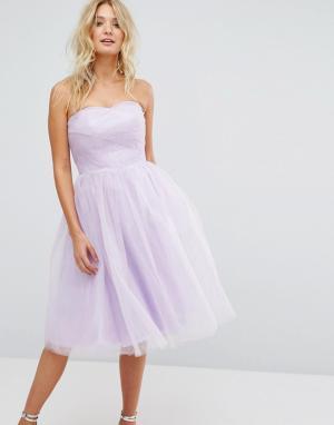 Hell Bunny Платье-бандо из тюля. Цвет: фиолетовый