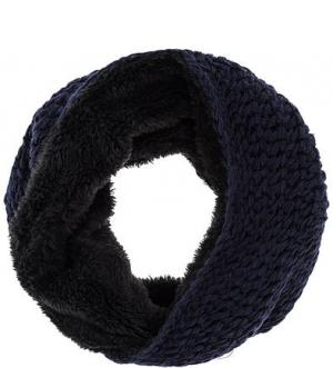 Шарф-хомут крупной вязки синего цвета HERMAN. Цвет: синий