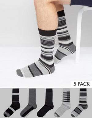 Urban Eccentric Набор из 5 пар черно-белых носков в полоску. Цвет: мульти