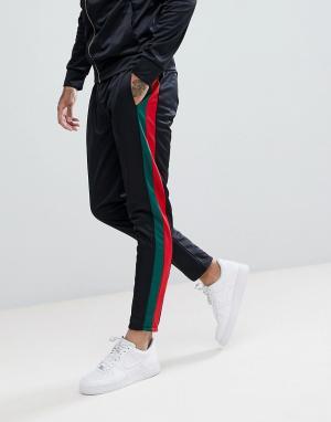 Criminal Damage Черные джинсы скинни с полосами по бокам. Цвет: черный