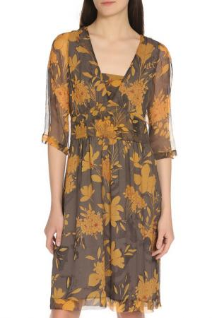 Летнее живописное платье Etro. Цвет: коричнево-желтый