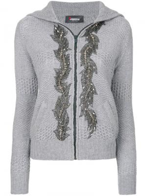 Embellished hooded cardigan Jo No Fui. Цвет: серый
