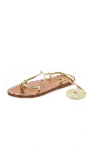 Гладиаторские сандалии Bikini с завязками K. Jacques. Цвет: платиновая ткань ламе