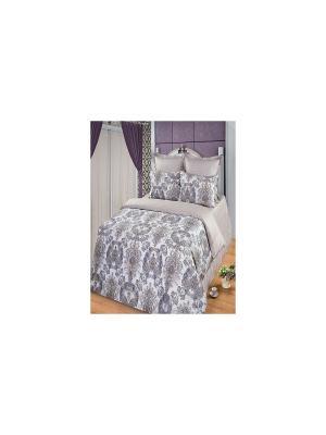 Комплект постельного белья из тк.Сатин в подарочной упаковке Алмаз Арт Постель. Цвет: бежевый, серый, сиреневый