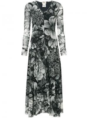 Платье с цветочным принтом Fuzzi. Цвет: чёрный