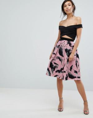 Vesper Расклешенная юбка с принтом. Цвет: розовый
