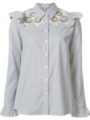 Блузка с вышивкой и рюшами Suno. Цвет: синий