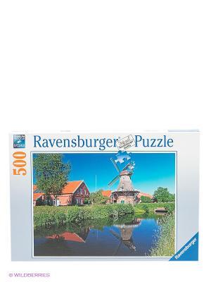 Пазл Ветряная мельница, 500 деталей Ravensburger. Цвет: зеленый, голубой