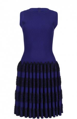 Мини-платье без рукавов с драпированной юбкой Alaia. Цвет: синий