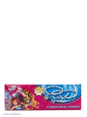 Набор для творчества  собери браслетики Winx, 3 браслета, бусины, подвески Multiart. Цвет: розовый