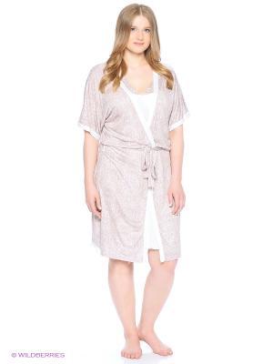 Комплект (халат, сорочка ночная) ASOLINDA. Цвет: розовый, коричневый