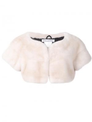 Укороченный пиджак из меха норки Oscar de la Renta. Цвет: белый