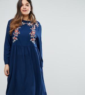 Alice & You Платье миди с длинными рукавами и вышивкой. Цвет: темно-синий