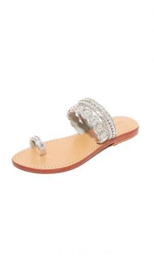 Серебристые сандалии с кольцом для большого пальца Mystique. Цвет: голубой