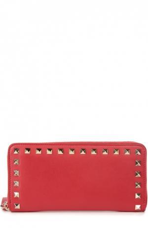 Бумажник Continental Rockstud на молнии Valentino. Цвет: красный