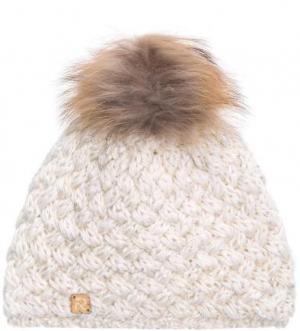 Однотонная вязаная шапка с отделкой пайетками R.Mountain. Цвет: молочный