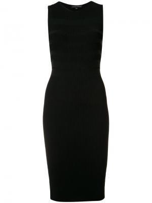 Приталенное платье в рубчик Narciso Rodriguez. Цвет: чёрный