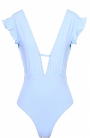 Слитный купальник с оборками и открытой спиной Beth Richards. Цвет: голубой