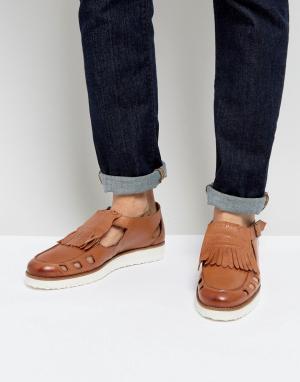 London Brogues Светло-коричневые сандалии с пряжками. Цвет: рыжий