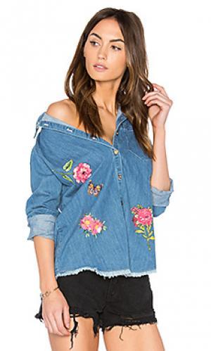 Джинсовая рубашка на пуговицах sloane Lauren Moshi. Цвет: none