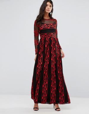Pixie & Diamond Платье макси с вышивкой. Цвет: мульти