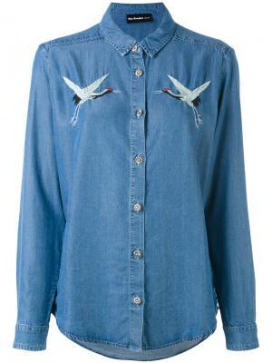 Birds embroideries denim shirt The Kooples. Цвет: синий