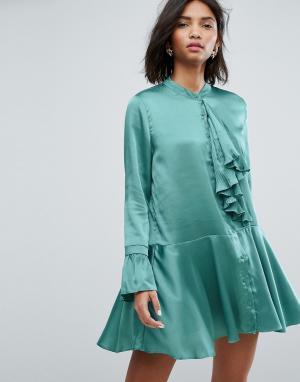 Sister jane Атласное платье мини с плиссированной отделкой и оборками. Цвет: зеленый