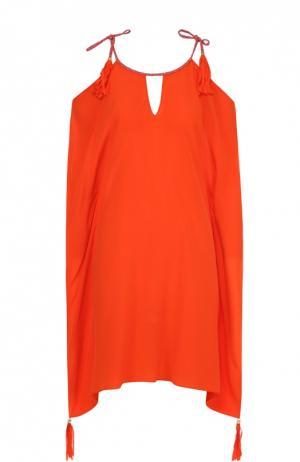 Шелковая туника с открытыми плечами и декоративной отделкой Lazul. Цвет: оранжевый