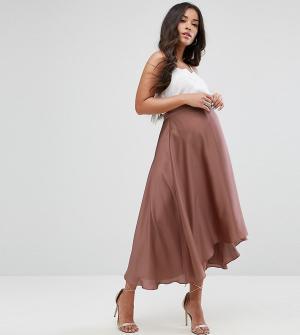 ASOS Maternity Атласная юбка миди со вставкой для живота. Цвет: золотой