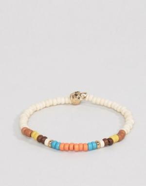 Icon Brand Браслет с разноцветными бусинами и черепом Malibu. Цвет: белый