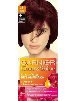 Краска-уход для волос Color&Shine без аммиака, оттенок 3.6, Черная вишня Garnier. Цвет: коричневый