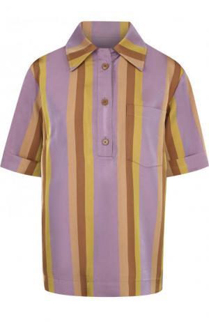 Блуза в полоску с коротким рукавом Dries Van Noten. Цвет: сиреневый