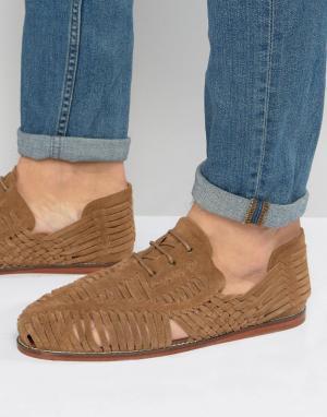 ASOS Светло-коричневые замшевые сандалии со шнуровкой. Цвет: рыжий