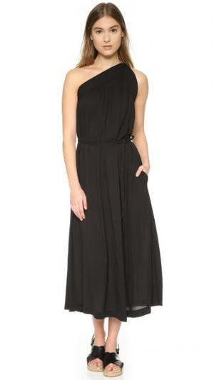 Асимметричное шелковое платье Helmut Lang. Цвет: голубой