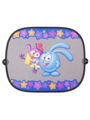 Шторка - экран на боковое окно SM/WIN-012 Krosh Смешарики. Цвет: голубой