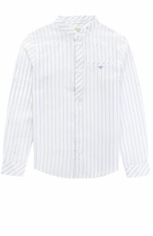 Хлопковая рубашка с принтом и воротником-стойкой Armani Junior. Цвет: белый