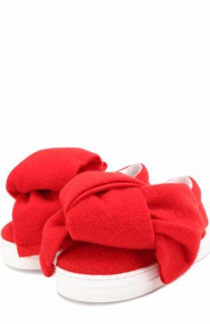 Текстильные слипоны с бантом Joshua Sanders. Цвет: красный