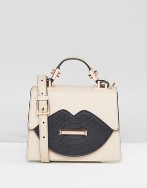 Kendall + Kylie Миниатюрная сумка-тоут с ручкой. Цвет: бежевый