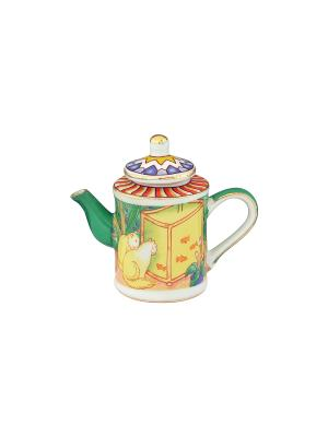 Сувенир-чайник Кошки у аквариума Elan Gallery. Цвет: зеленый, желтый
