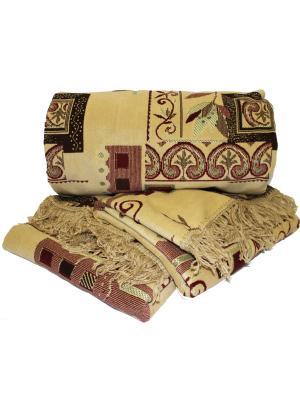 Комплект на мягкую мебель: покрывало 160Х210, накидка кресло 160Х90 - 2шт Dorothy's Home. Цвет: бордовый, бежевый, светло-коричневый