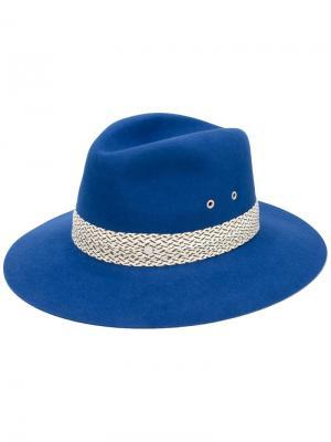 Шляпа с контрастной тесьмой Maison Michel. Цвет: синий