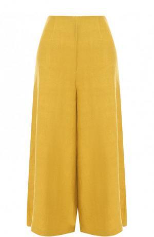 Укороченные однотонные брюки из хлопка Tata Naka. Цвет: желтый