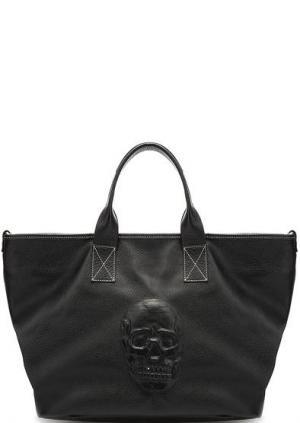 Вместительная кожаная сумка Io Pelle. Цвет: черный