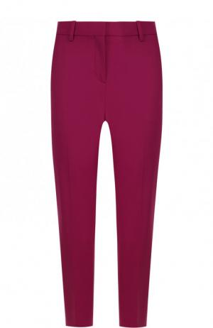 Укороченные шерстяные брюки со стрелками Theory. Цвет: лиловый