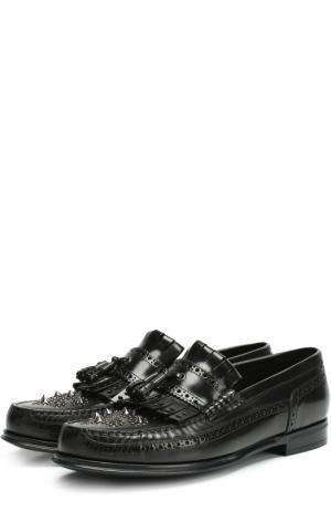Кожаные мокасины с бахромой и брогированием Dolce & Gabbana. Цвет: черный