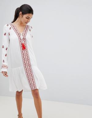 Anmol Пляжная накидка с вышивкой. Цвет: белый