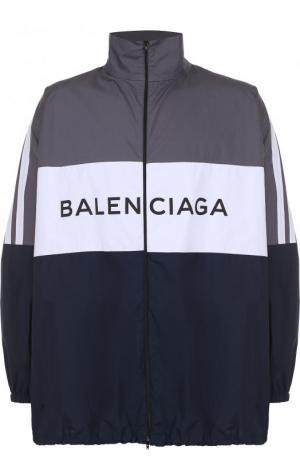 Хлопковая рубашка свободного кроя на молнии с воротником-стойкой Balenciaga. Цвет: синий