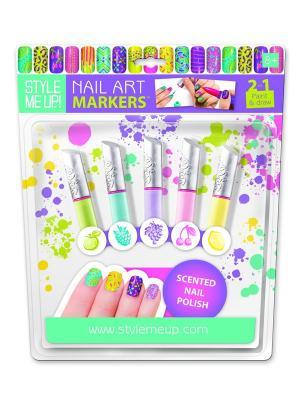 Маркеры для маникюра с фруктовым ароматом STYLE ME UP. Цвет: зеленый, розовый, фиолетовый